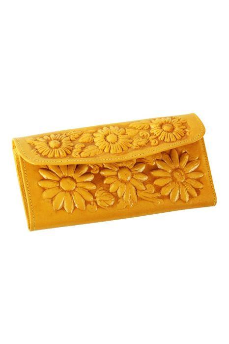 Hochzeit - Yellow Leather Wallet - Artisan Handmade