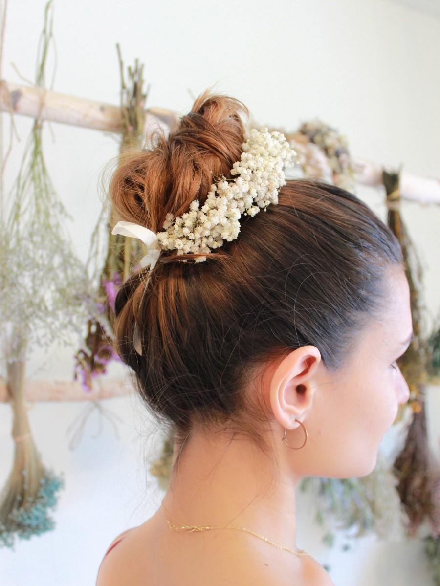 Hochzeit - Dry Baby Breath Bun Updo Crown / Ponytail Flower Girl Bun Wrap / Flower Girl Bun Headpiece / Wedding Tiara / Dried Hair Wreath Halo