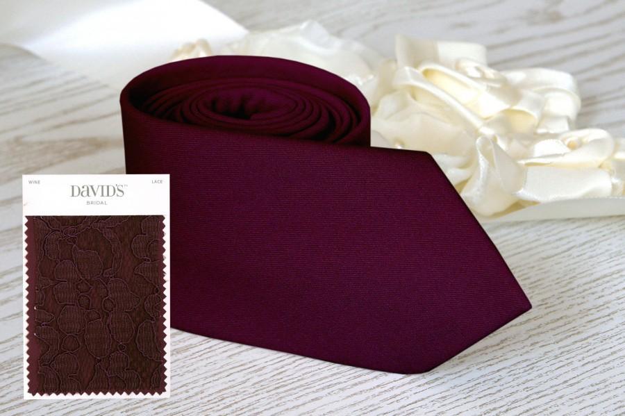 Mariage - WINE Tie David's Bridal Men's skinny tie Groomsmen Neckties Special Order BowTie Pocket square Suspenders Wedding Ties Necktie for MenSALE