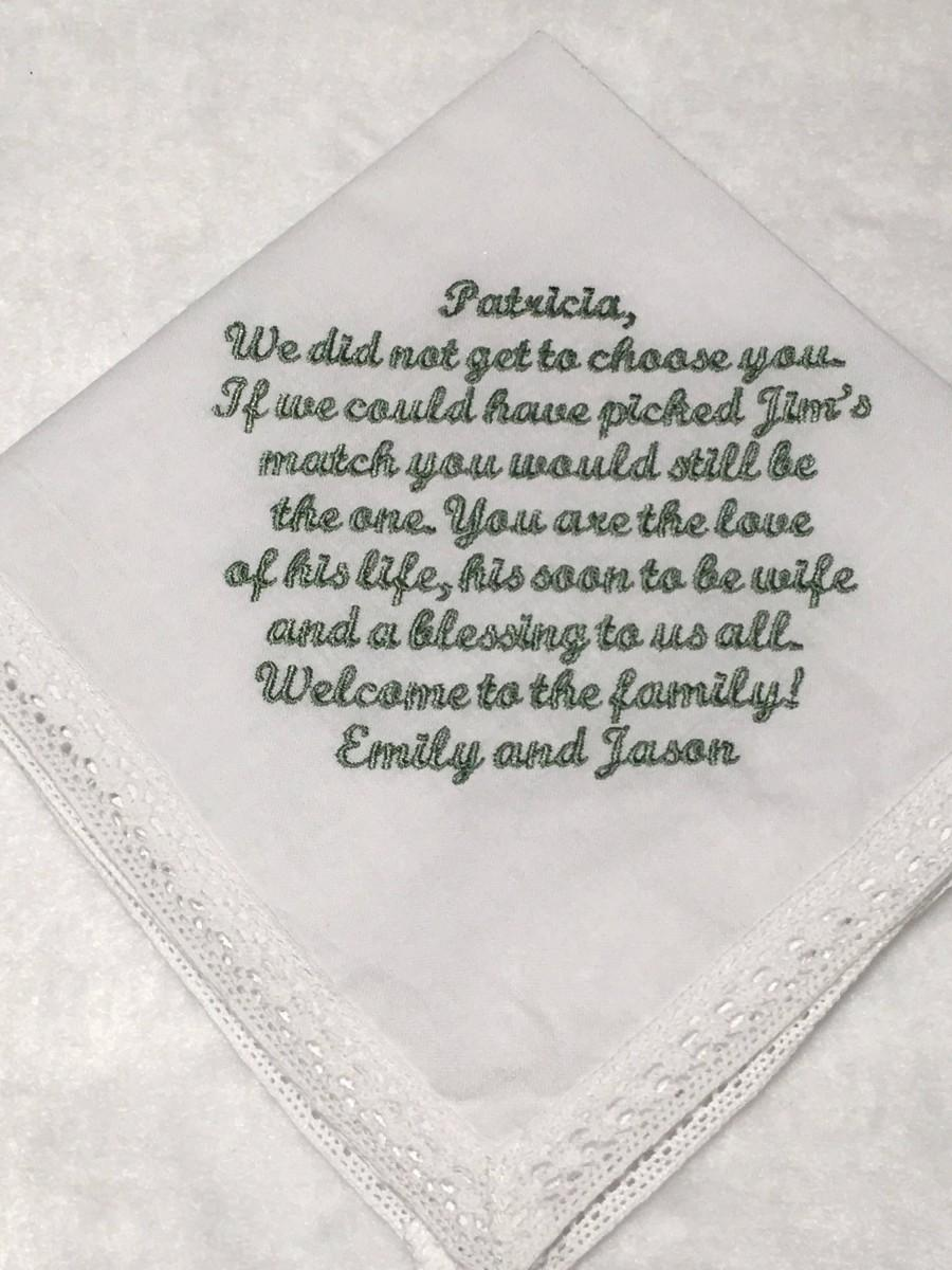 Mariage - Daughter in law gift handkerchief, Mother in law to daughter in law, MIL to new bride, 211S