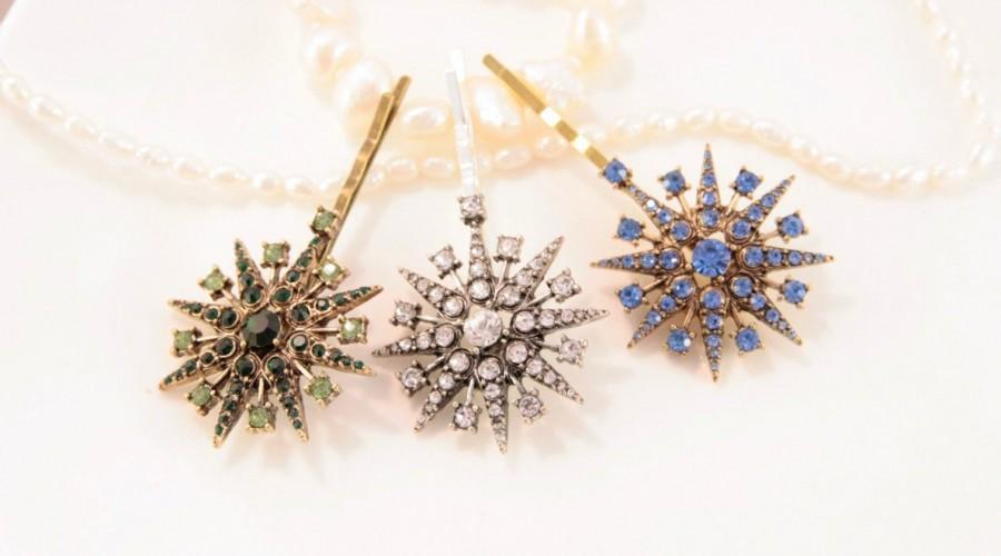 Mariage - Star Hair Pins Star Hair Clip Snowflake Hair Pins Blue Silver Star Celestial Wedding Star Headpiece Star Bobby Pin Star Pins Green Stars