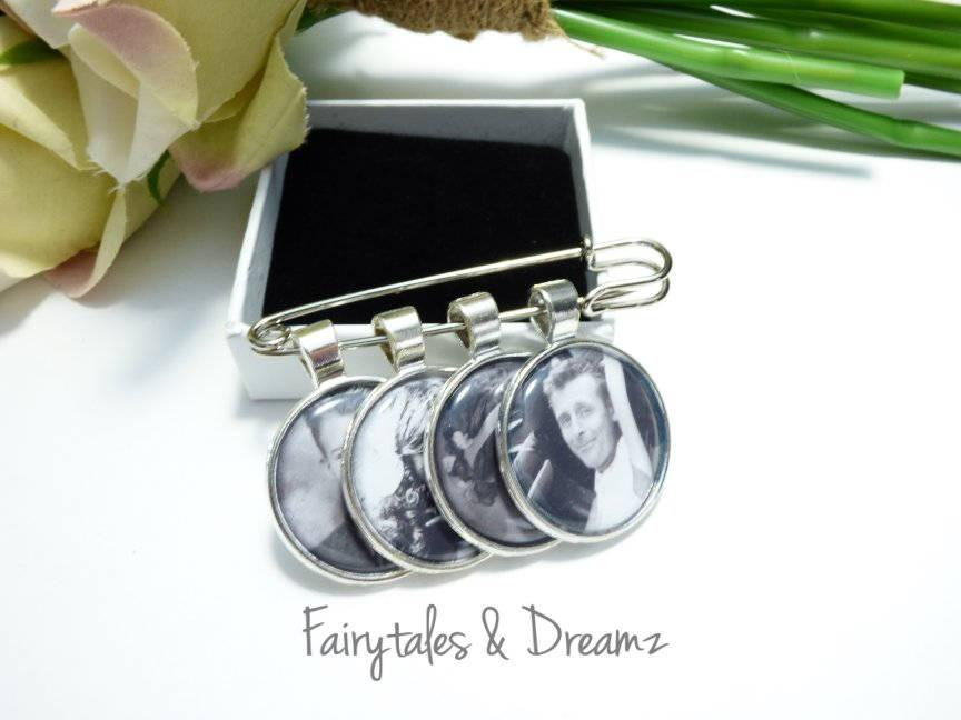 Mariage - Boutonniere Photo Charm personalized with your 25MM photo - Groom memory photo pin, Grooms Memorial Charm for Groom, Bride Bouquet Charm