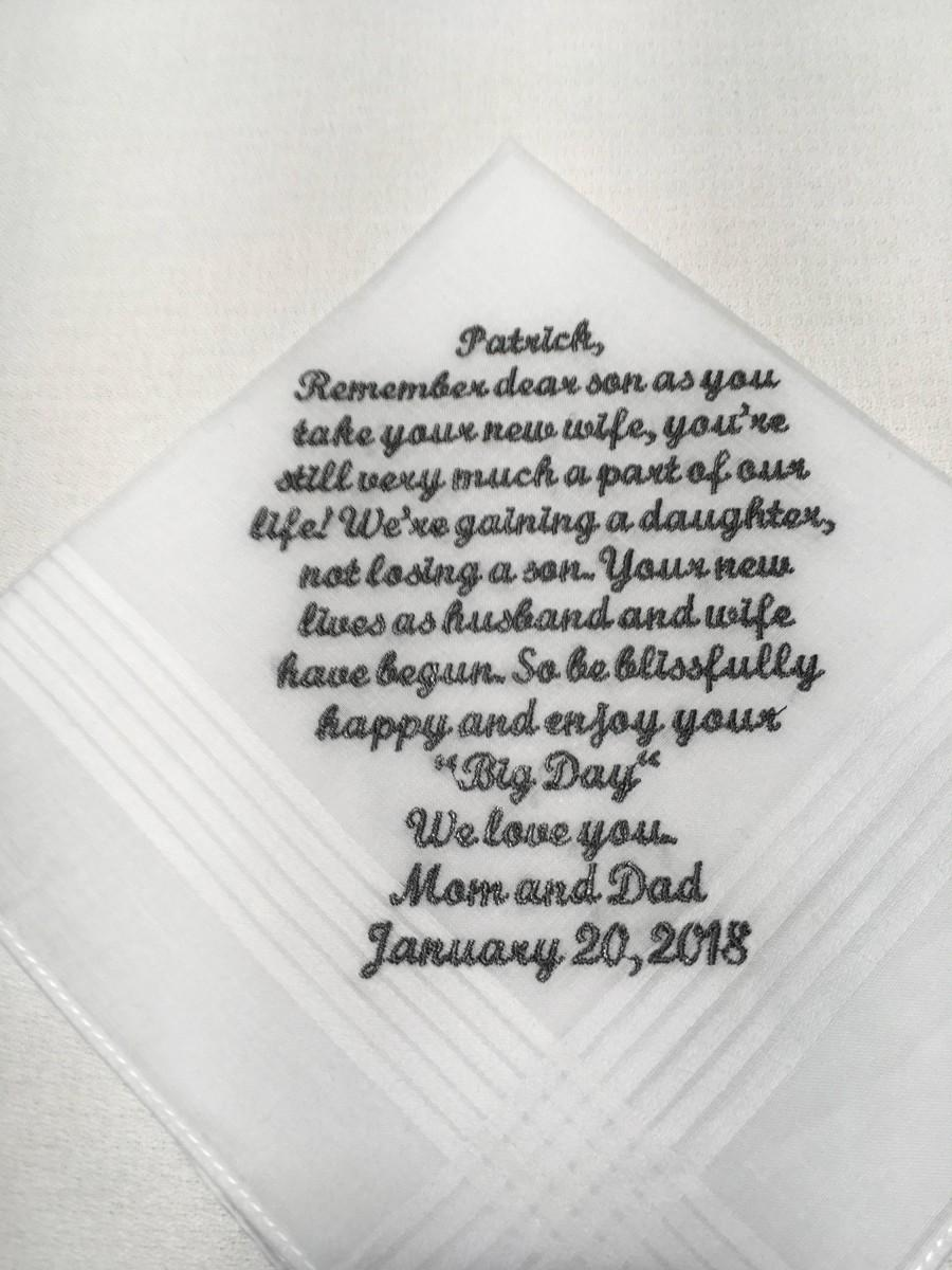 Mariage - Mother or dad to Son, gift for son, parents to groom, wishes for sons wedding, wedding handkerchief 209S