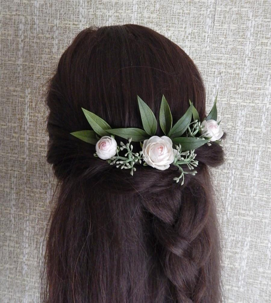 زفاف - Ivory rose flower hair pins Greenery hairpiece wedding Eucalyptus hair piece Floral headpiece for bride Bridal head piece