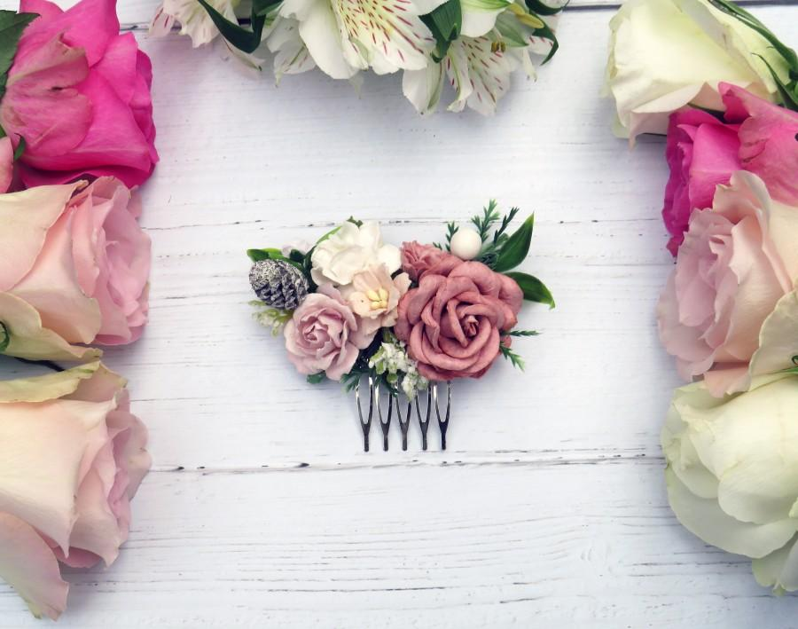زفاف - Flower Hair Comb, Vintage Hair Piece, Bridal Hair Comb, Pink Rustic Flower Hair Comb