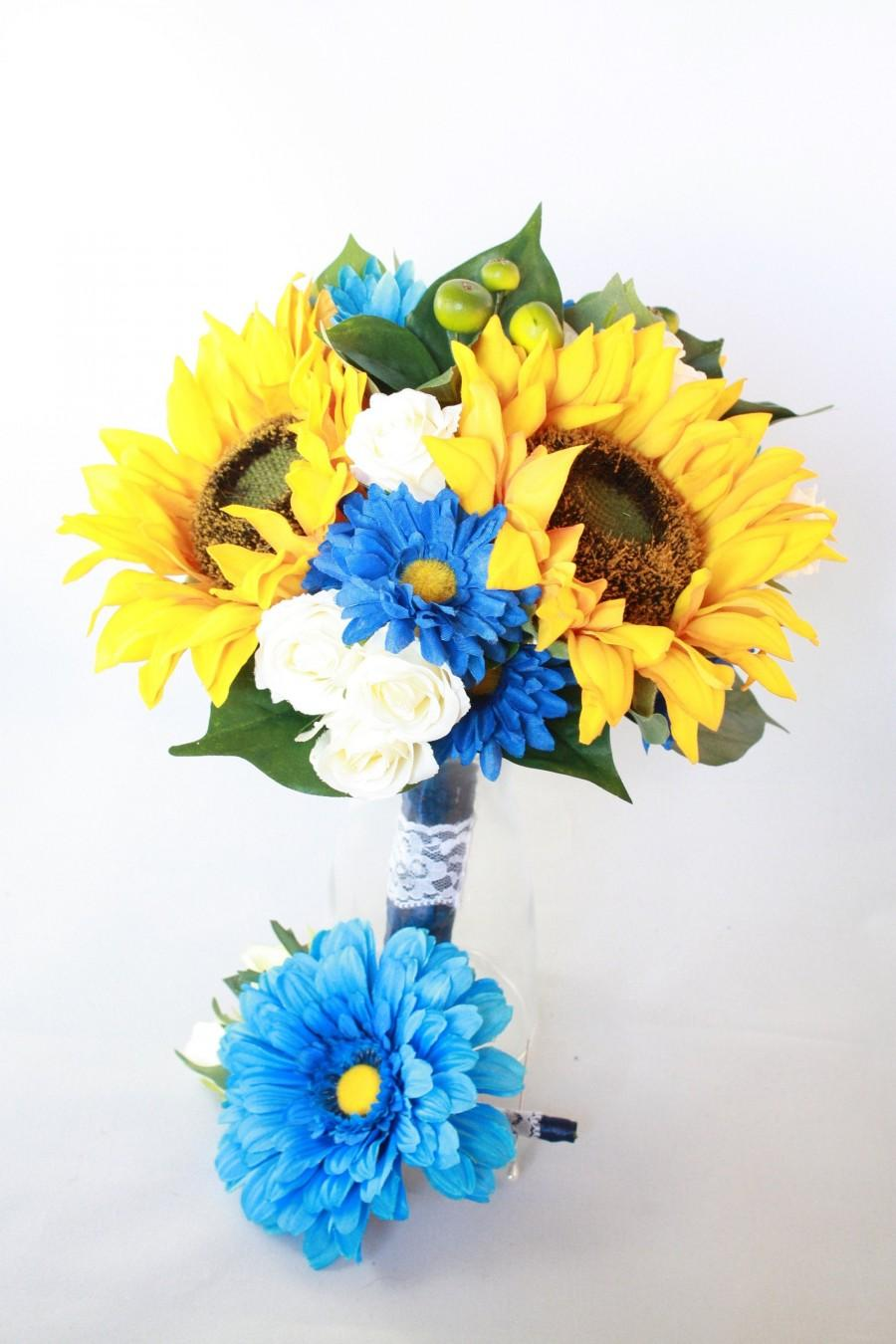 Mariage - Premium Silk Bouquet & Boutonniere Set - Court House/elope wedding - Yellow, Blue, Navy, White - Sunflower, Daisies, Roses, Lace, Rustic
