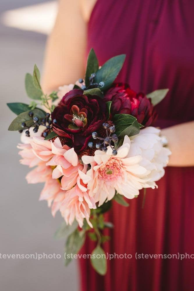 زفاف - Premium Small Silk Bouquet & Boutonniere Set - Boho wine wedding - Pink Sunflower, Gerbera Daisy, Eggplant Ranunculus, Blush Peony, Berry