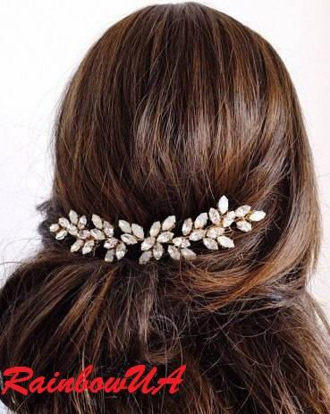 زفاف - Rhinestone Wedding Hair Piece Gold Wedding Hair Vine Gold Hair Accessory Bridal Silver Hair Vine Crystal Hairpiece Wedding Headpiece Jewelry