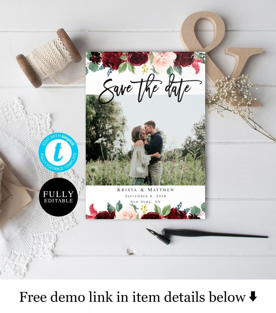Wedding - Templett Photo save the date template Printable Engagement Save the date with picture Merlot Red Bohemian Wedding Personalized DIY #vmt218
