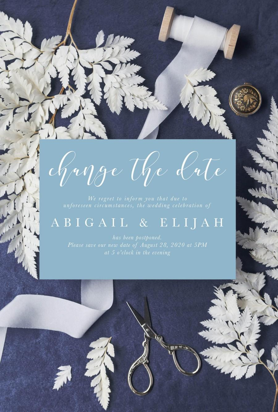Свадьба - Addressed & Printed Wedding postponed postcard, Wedding postponement card, Save our new date postcard, Wedding announcement card