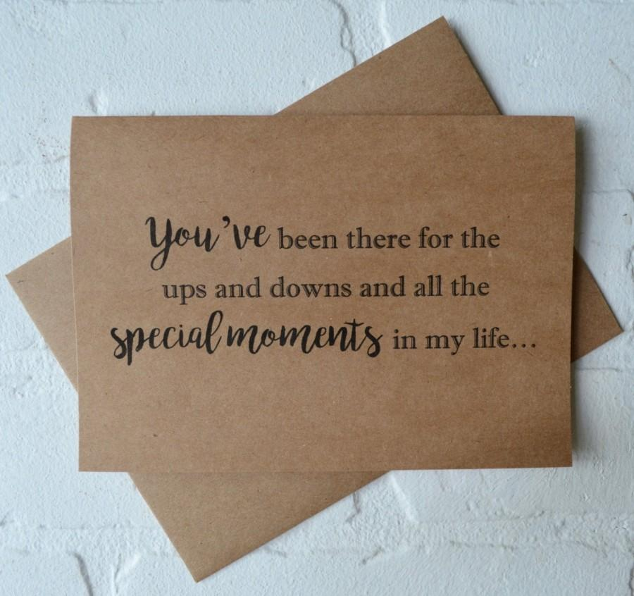 Mariage - YOUVE been there for the ups and downs WILL you WALK me down the aisle kraft father card best friend card give me away cards special moments