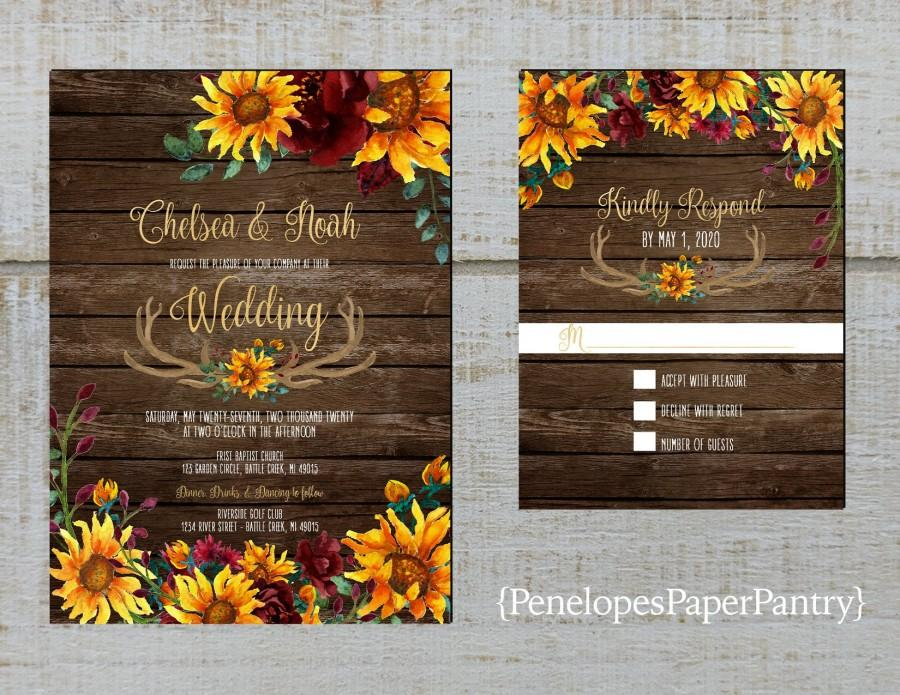 Wedding - Rustic Sunflower Fall Wedding Invitation,Sunflowers,Burgundy Roses,Antlers,Barn Wood,Gold Print,Shimmery,Printed Invitation,Wedding Set