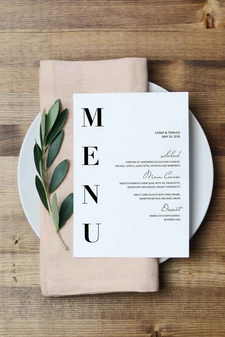 Свадьба - Wedding Menu Template, Modern Menu cards Template, Minimal menu Template, Wedding Menu  printable, Simple Menu printable, Party Menu, ZL16