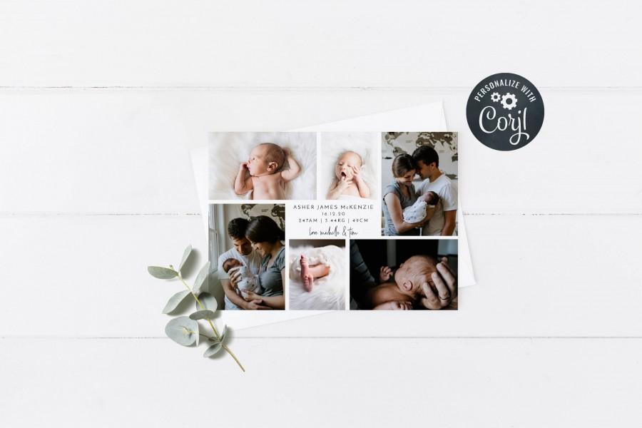 Wedding - Newborn Baby Birth Announcement, Six Photo Montage Printable Birth Announcement Card, DIY Corjl Template, Instant Download 5x7, A6 size