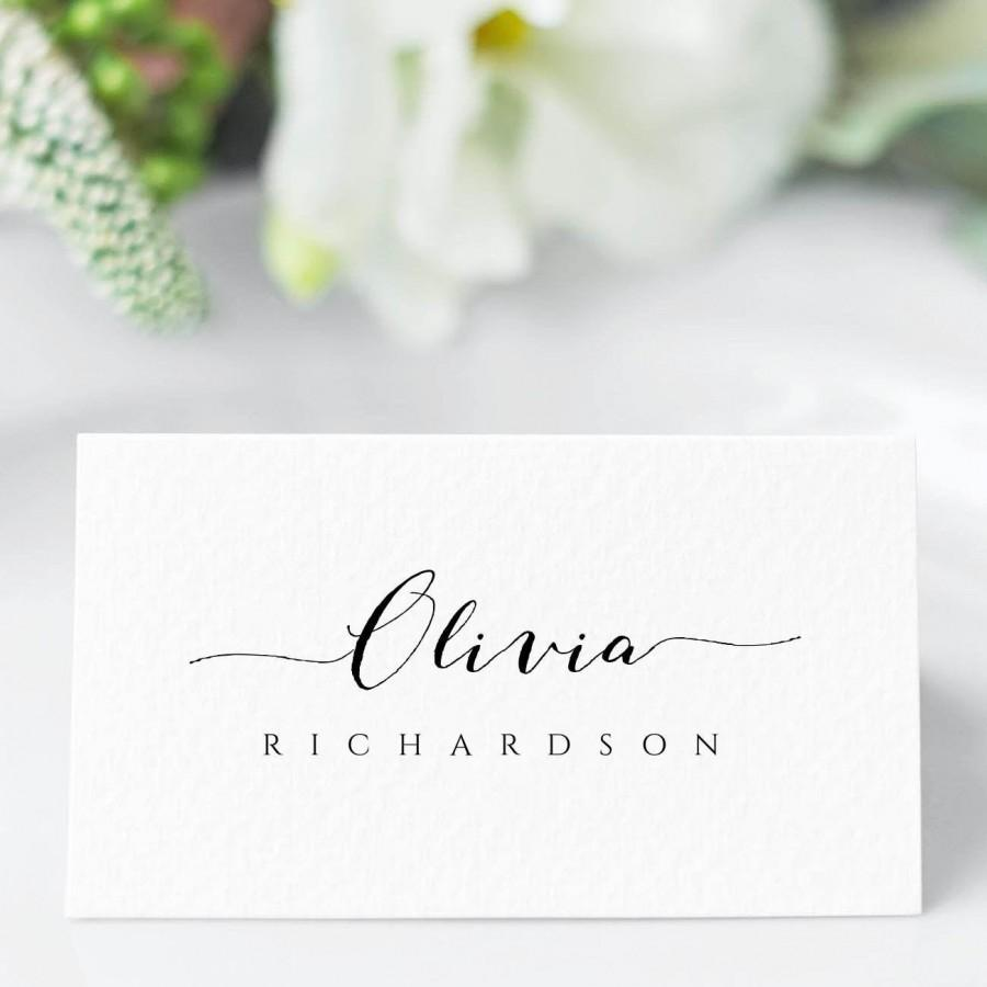 Mariage - Wedding Place Card Template, Place Card Printable, Calligraphy Escort Cards, Editable Placecards, Instant Download, BW1