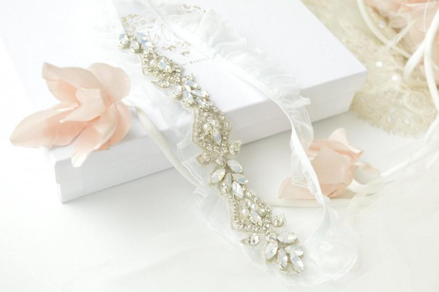 Mariage - Fine Art Deco Opal Blue Garter UK - Premium Collection - Bridal Garter, Vintage Garter, Wedding Garter