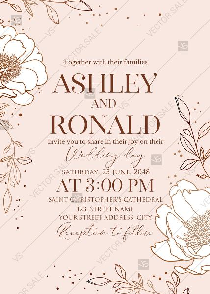 Wedding - Online Editor - Rose gold pink white peony leaf greenery branches wedding invitation set PDF 5x7 in
