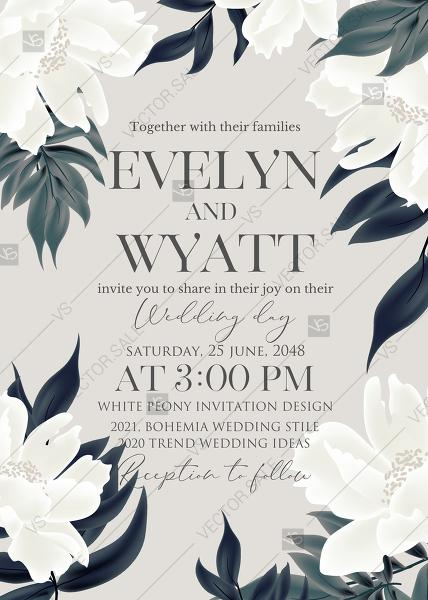 Wedding - White peony floral wedding invitation card template PFD 5x7 in personalized invitation