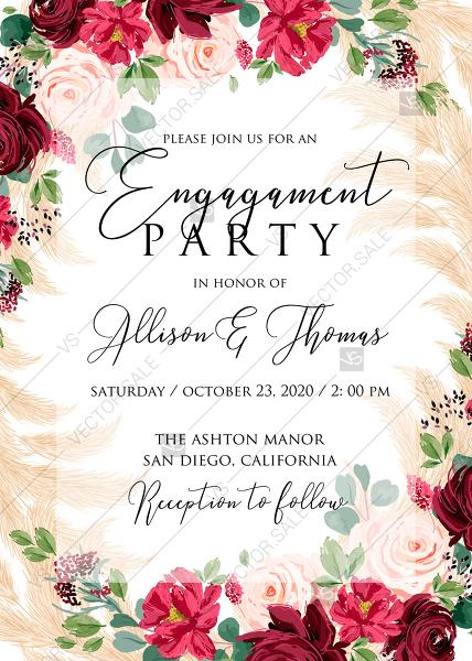Wedding - Online Editor - Engagement party invitation Marsala peony rose pampas grass pdf custom online editor 5x7
