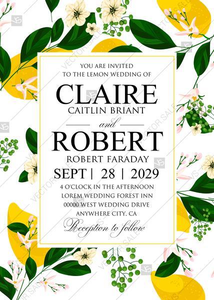 Wedding - Online Editor - Lemon Wedding Invitation suite template printable greenery PDF 5x7 in