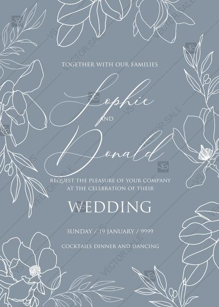 Wedding - Magnolia flower line art wedding invitation PDF 5x7 in