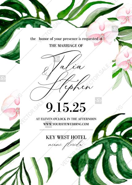 Wedding - Tropical leaves palm watercolor pink orchid flower wedding invitation template PDF 5x7 edit online