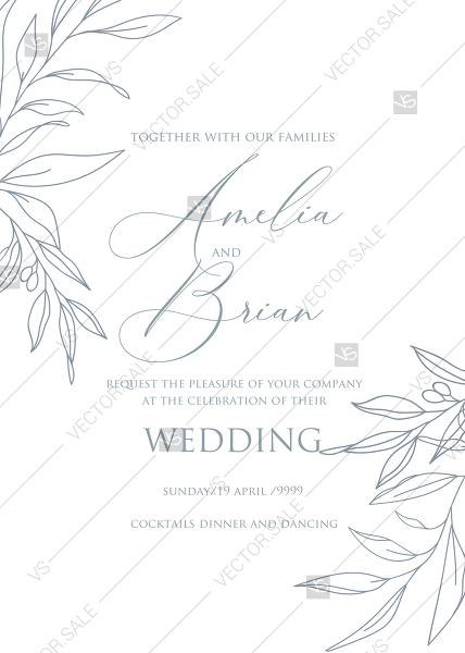Wedding - Online Editor - Minimalistic olive eucalyptus leaves brunch line art trend ink wedding invitation set PDF 5x7 in
