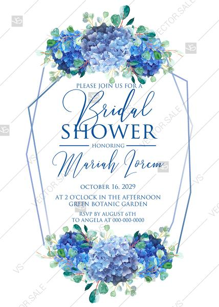 Wedding - Bridal shower wedding invitation set watercolor blue hydrangea eucalyptus greenery PDF 5x7 in