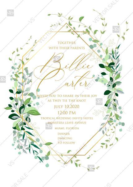 Wedding - Mixed Greenery herbs grass customizable wedding Invitation set PDF5x7 in