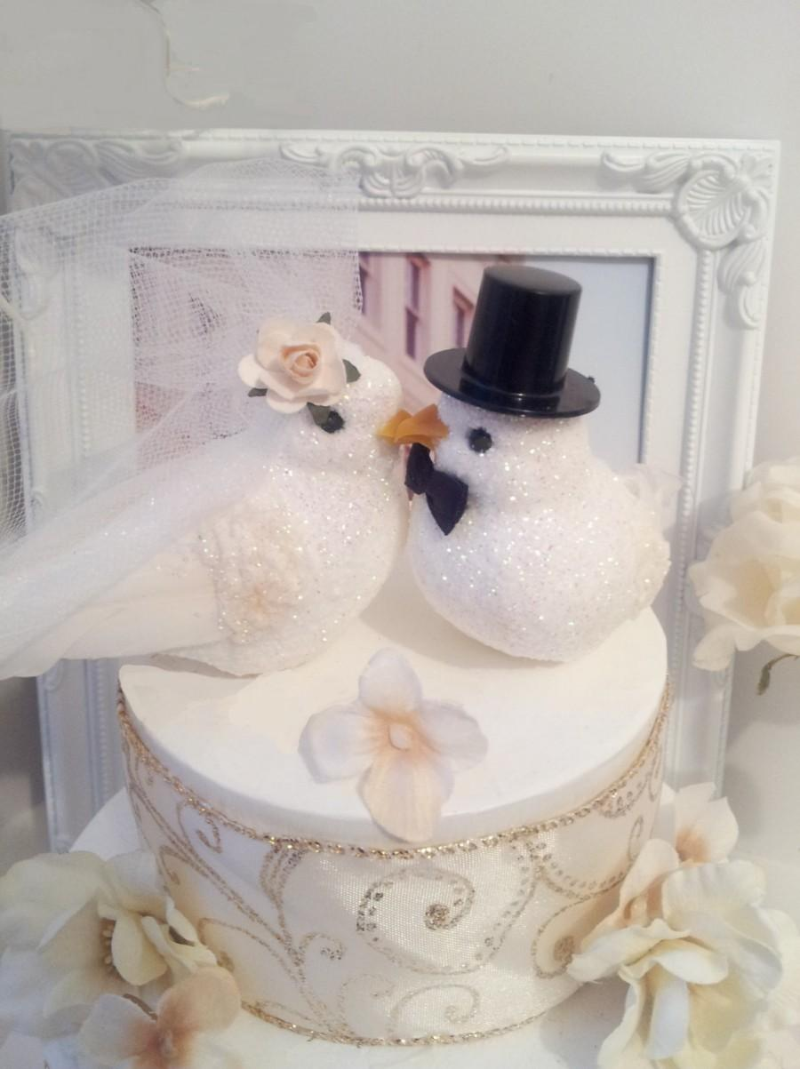 Wedding - BIG SALE CHOOSE your female head flower for free wedding  romance  white doves birds  wedding anniversary cake topper