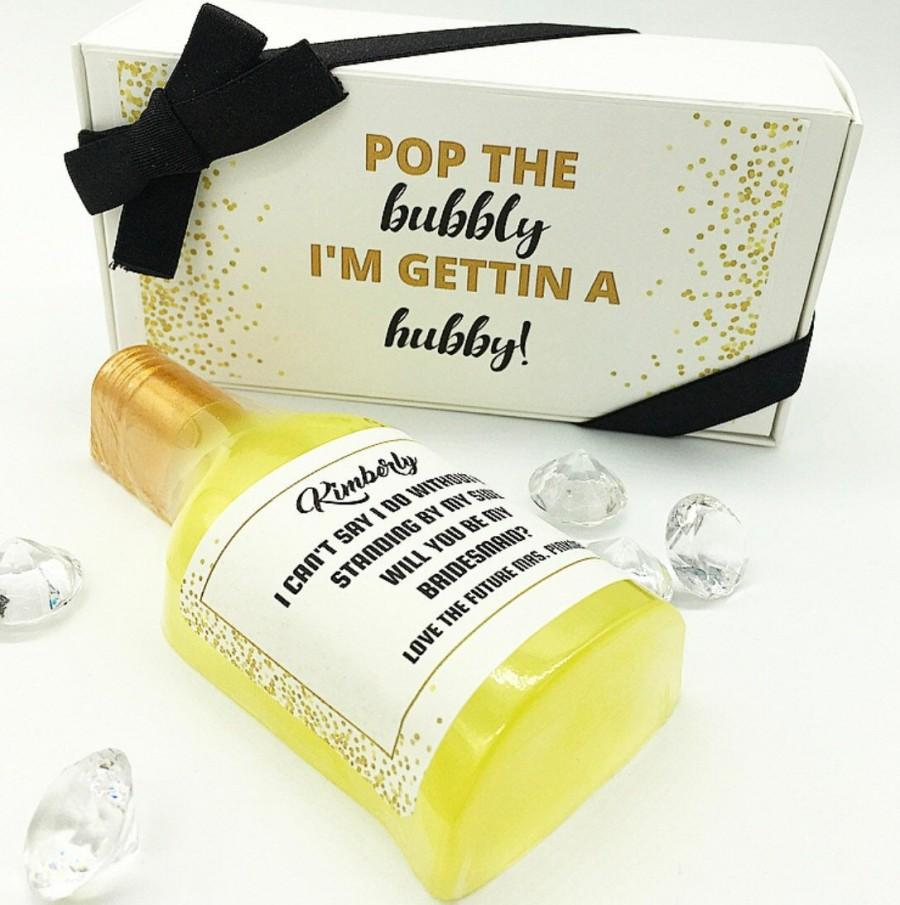 Mariage - Wedding Party Proposal Maid of Honor Proposal Will you be my Bridesmaid Pop the Bubbly I'm getting a Hubby Proposal Proposal Box Gift