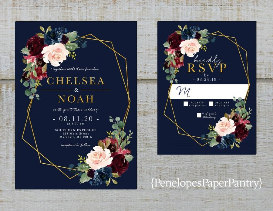 Wedding - Elegant Navy Floral Geometric Frame Fall Wedding Invitation,Burgundy,Blush,Marsala,Roses,Gold Print,Shimmery,Printed Invitation,Wedding Set