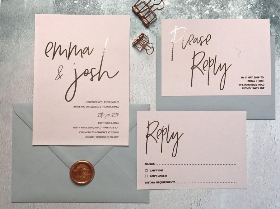 Wedding - Rose Gold & Blush Wedding Invitation - Rose Gold Foil Wedding Invitation - Modern Wedding Invite