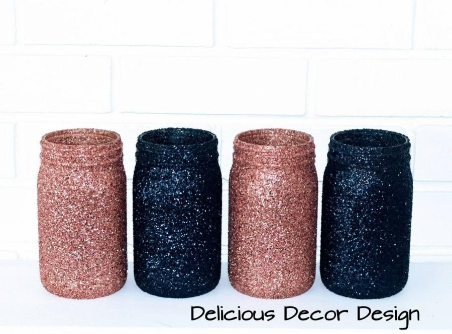 Mariage - Rose Gold And Navy Mason Jars,Glitter Vases,Table Centerpieces,Shower Decorations,birthday Party Decor,Wedding Anniversary,Reception, 4 Jars