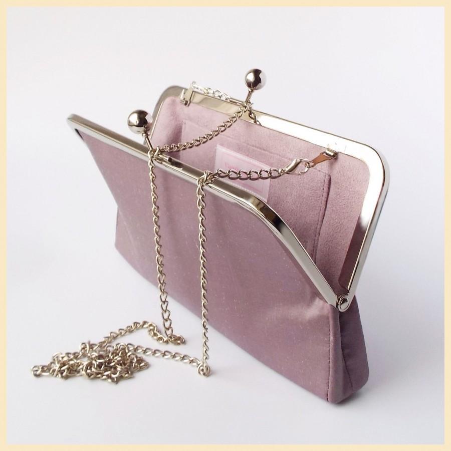 Mariage - bridal clutch, mauve bridesmaids purse, wedding clutch bag, bridal purse for Autumn wedding