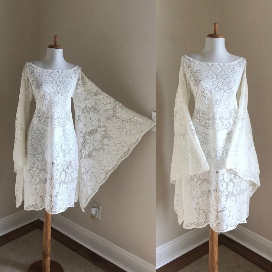 Mariage - Vintage Womens Ivory Lace Short Wedding Dress