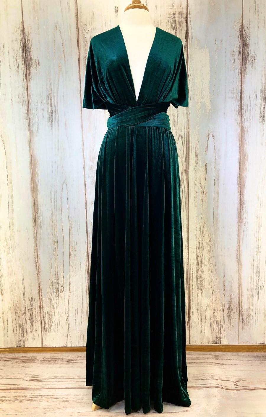 Mariage - EMERALD VELVET Infinity Dress/ Bridesmaids Dress/ Convertible Dress / Multiway Dress/ Multiway Wrap Dress / Velvet Bridesmaids Dress