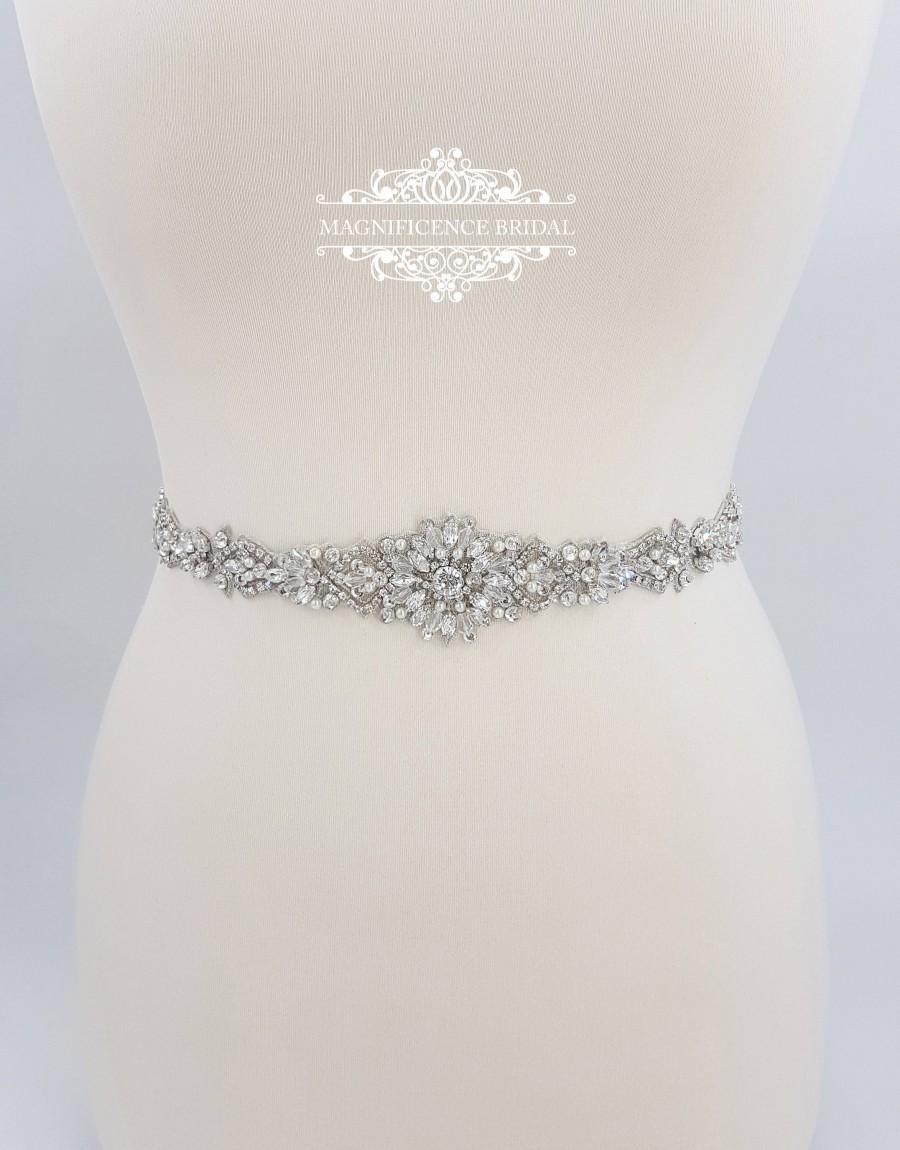 Свадьба - All around belt, Thin bridal belt, wedding belt, bridal sash, thin wedding belt, bridal belt, wedding dress belt, beaded bridal sash, GRACE