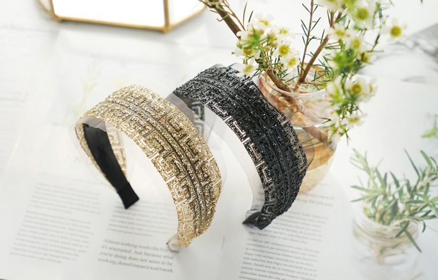 Mariage - Mesh gauze fabric Sequins headband,wedding headband,headbands for women,stylish fashion hairband,Bridesmaid headband,wide-brimmed headband