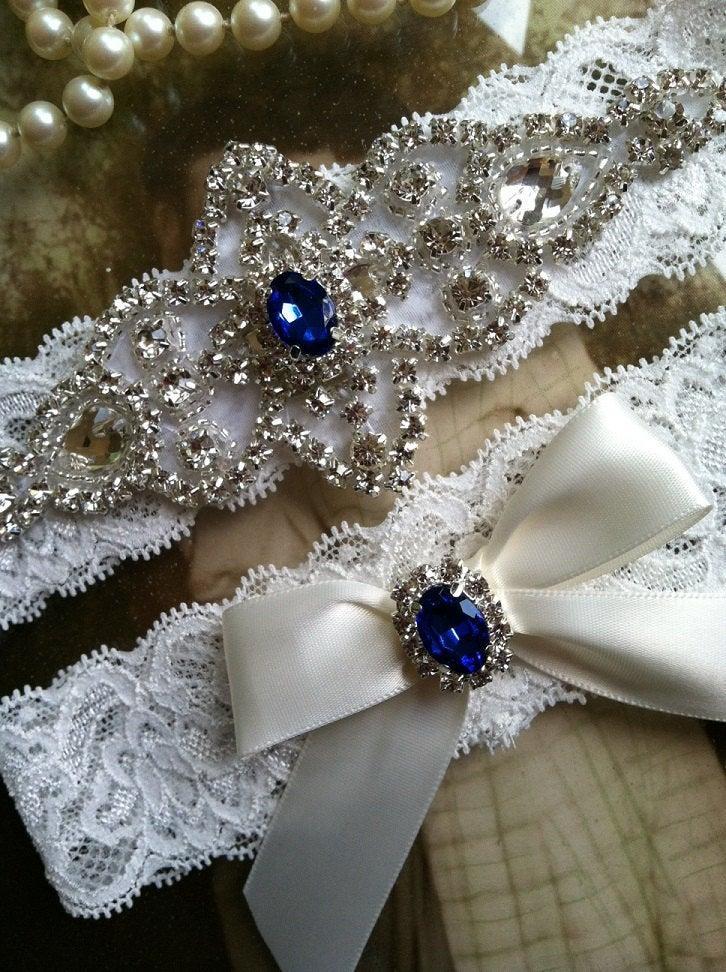 Wedding - Ivory wedding garter set, no slip grip garter toss and keepsake. Antique white rhinestone bridal garter satin ribbon and lace plus size blue
