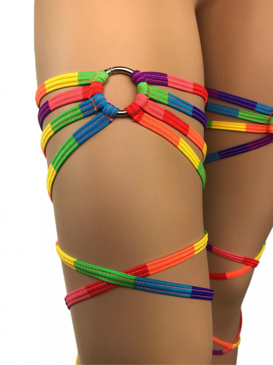 Hochzeit - Freya's Leg Wraps Rainbow Garter Thing Wraps Gay Flag Pride Parade  LGBTQ Rave Outfits Gartinis Rave wear Gartered Exotic Dancewear Clubwear