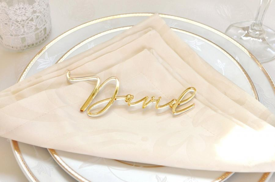 Mariage - Wedding place cards, laser cut names for wedding table decoration, custom name place cards, golden mirror place card, acrylic place card