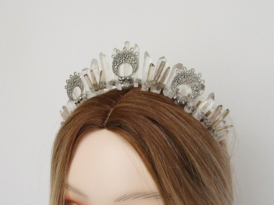 Wedding - Goddess Crown Witch Headpiece Crystal Crown Clear Quartz Medieval Headpiece Fantasy Crown Moon Crown Silver Crown Magical Raw Crystal Tiara