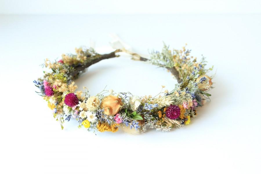Mariage - Dry Flower Crown, Colorful Lavender Dried Flowers Crown, Rustic Floral Headpiece, Natural Flowers Girl Floral Crown, Fall Wedding