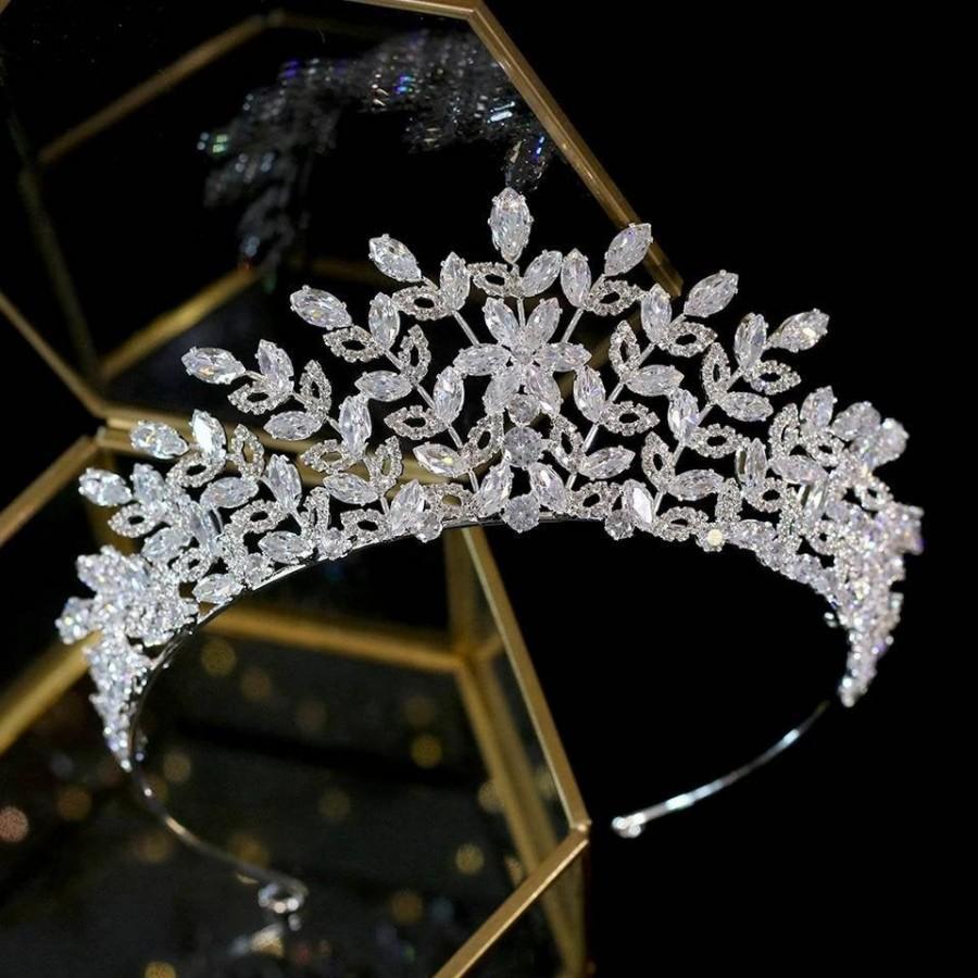 Wedding - Crystal Brides Tiara with Flowers-Wedding Accessories,Brides Hair Jewellery-Silver Wedding Crown-Tiara for Brides-Diamante Bridal Headpiece