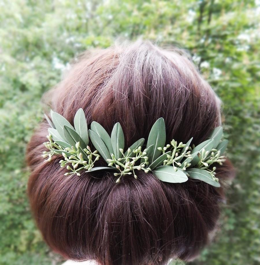 Wedding - Green olive leaves hair pins Seeded eucalyptus hair piece Greenery wedding hair accessory Floral hairpiece Grecian headpiece Leaf head piece