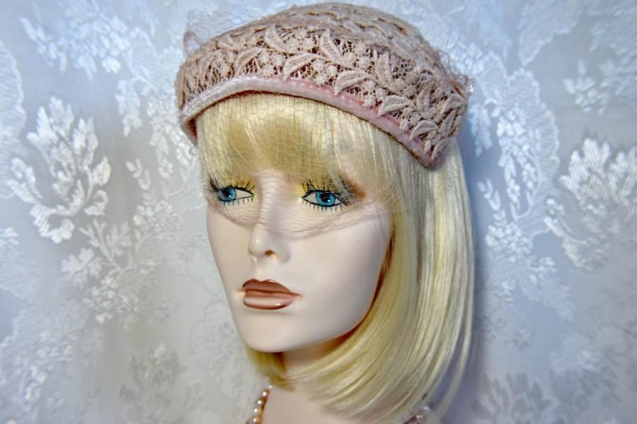 Wedding - Victorian headpiece Juliet headpiece, Dusty Rose Pink Lace Vintage Victorian Cap, Juliet wedding headpiece juliet bridal cap, pink headpiece