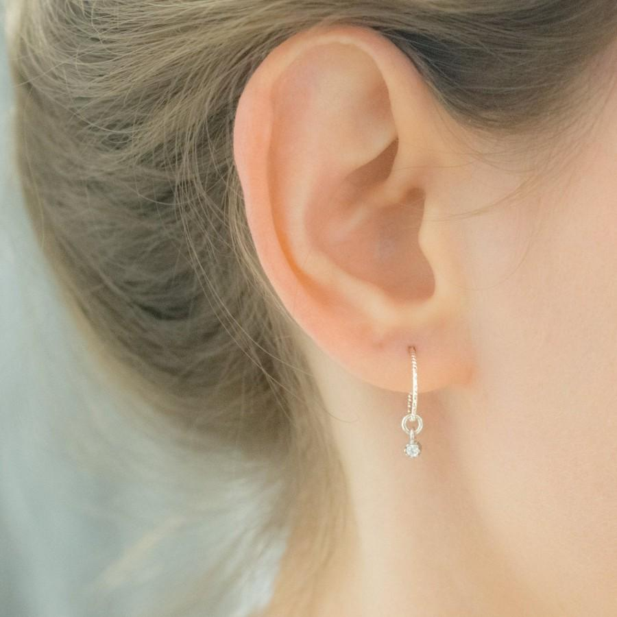 Mariage - Hoop Earrings with Charm - Hoops - Hoop Earrings Silver -  Hoop Earrings with Beads - Small Hoop Earrings - Silver Hoop Dangle Earrings