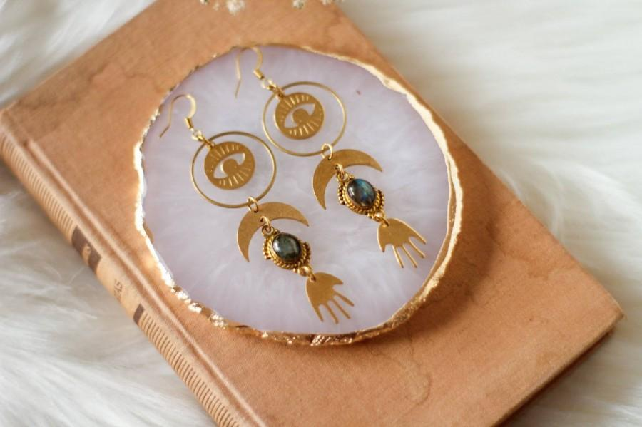 Mariage - Goddess Gold Earrings with Labradorite Crystal, Palmistry hand, Crescent Moon, Evil Eye and Circles, Protection Talisman Bohemian Jewelry