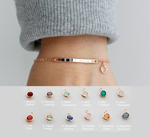 Mariage - Personalized Birthstone Bracelet • Name Bracelet • Friendship Bracelet • Best Friend Gift • Bridesmaid Gift • Sister Gifts •  SBC-A